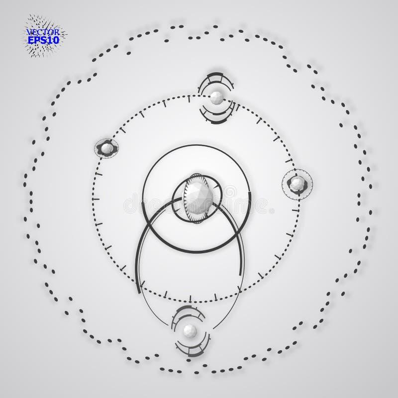 contesto di vettore di tecnologia di ingegneria 3d Piano tecnico futuristico, meccanismo Schema meccanico monocromatico, sommario illustrazione vettoriale