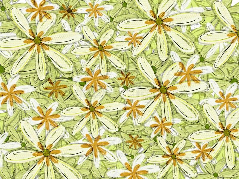 Contesto floreale del modello hawaiano verde ed arancio illustrazione vettoriale