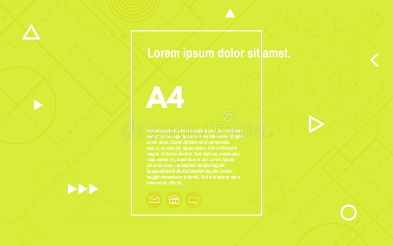Contesto geometrico astratto con gli elementi glitched Modello d'atterraggio luminoso con le forme bianche Progettazione verde de illustrazione vettoriale