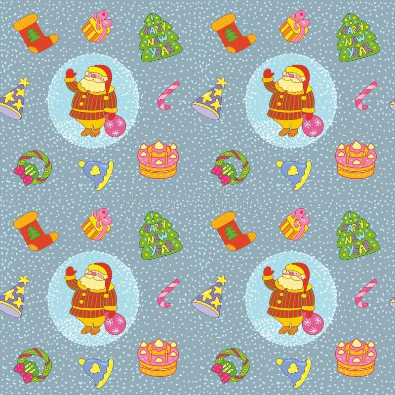 Contesto natalizio con Babbo Natale salutato, doni e albero di Natale s fotografia stock libera da diritti