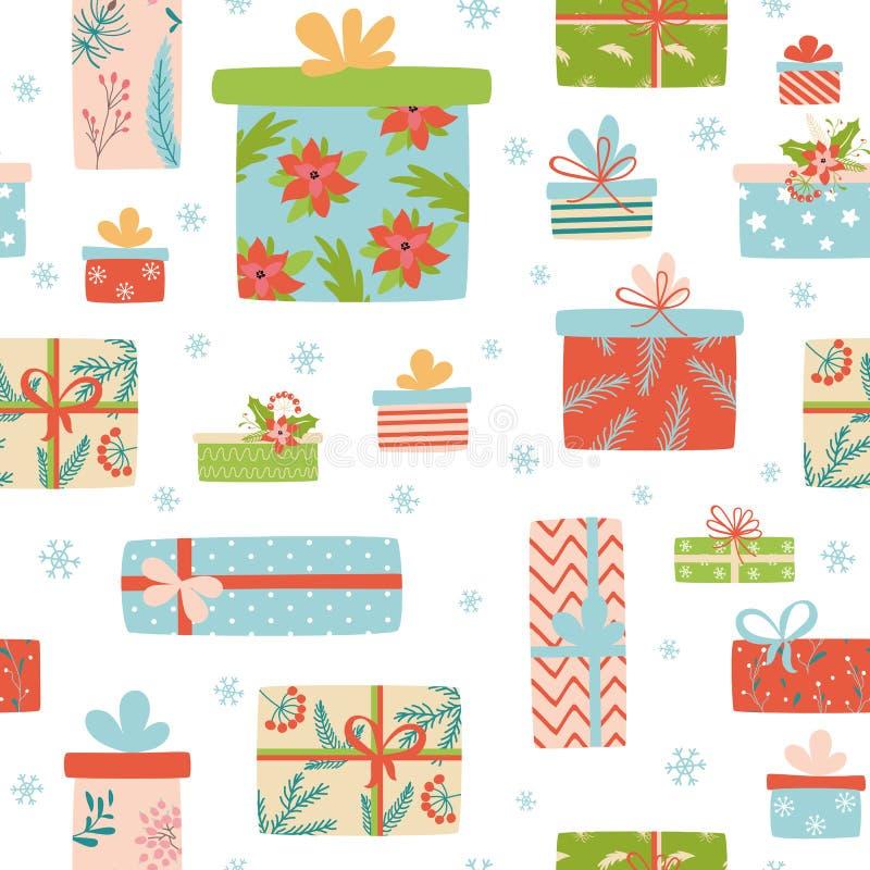 Contesto natalizio dei regali senza soluzione di continuità con scatole regalo Schema dei regali Vettore di stile cartografico royalty illustrazione gratis