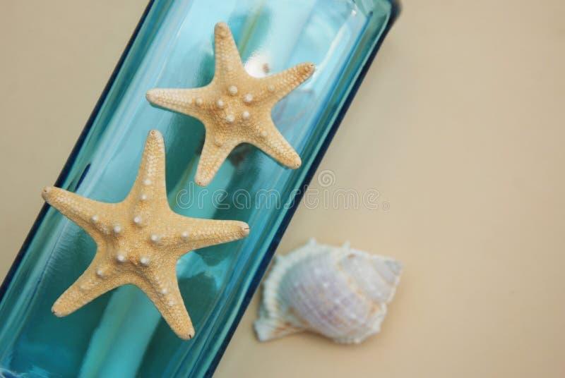 Contesto nautico di tema, bottiglia decorativa con le coperture, stelle marine sul fondo neutrale dell'avorio Posto per testo Fuo immagine stock
