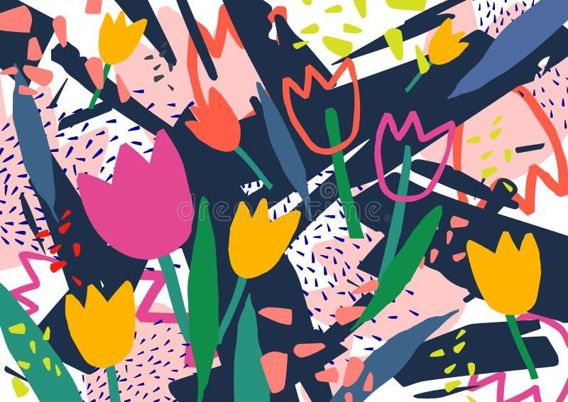 Contesto orizzontale creativo con i fiori del tulipano e macchie astratte variopinte e scarabocchio Luminoso colorato decorativo royalty illustrazione gratis