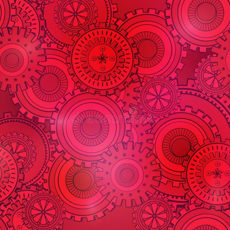 Contesto rosso e rosa alla moda di tecnologia delle ruote dentate Carta da parati d'annata con il meccanismo Stile di Steampunk royalty illustrazione gratis