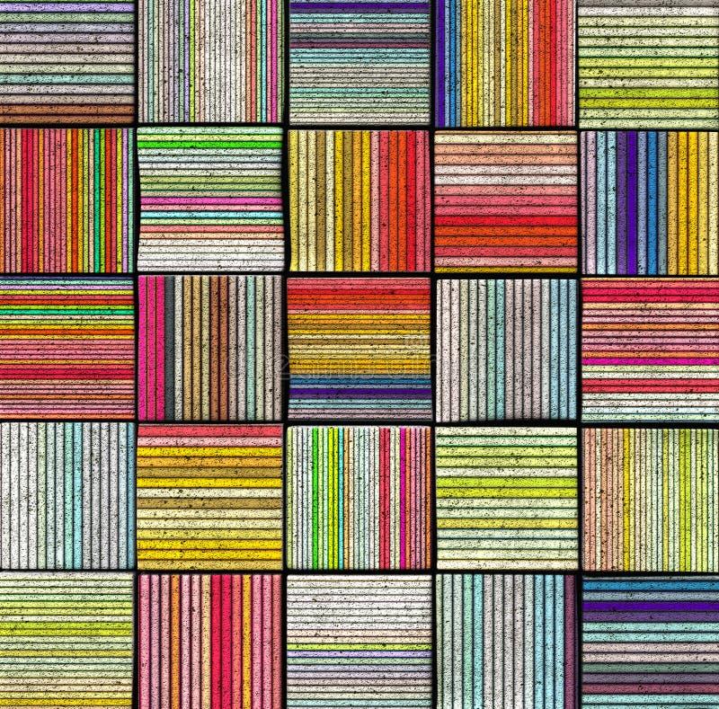 contesto a strisce astratto delle mattonelle 3d nel colore del Rainbow immagini stock libere da diritti