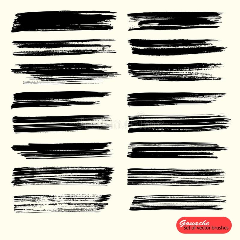 Contexte artistique de vecteur Peinture noire, brosse acrylique, course de brosse de gouashe, ligne ou texture ?l?ments monochrom illustration libre de droits