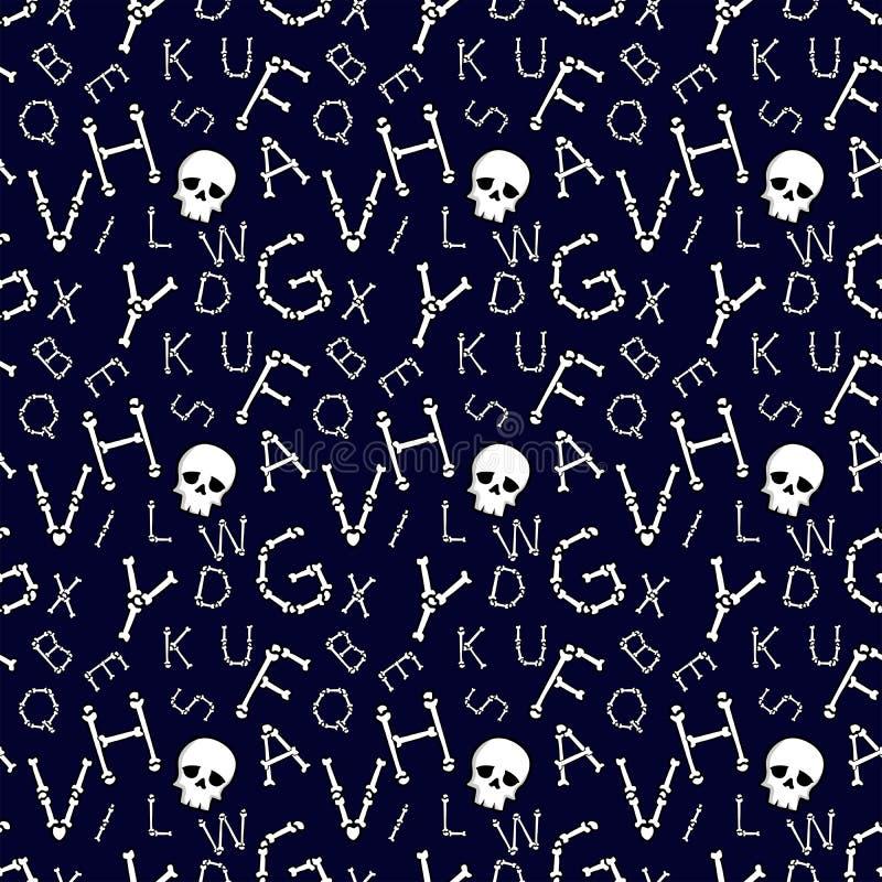 Contexte d'Halloween Motif vectoriel transparent avec caractères latins effrayants osseux illustration de vecteur
