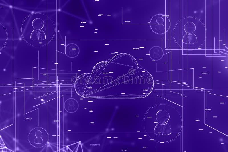 Contexte de réseau d'ordinateur et de personnes de nuage illustration stock