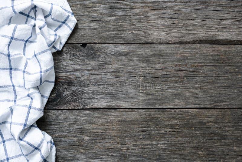 Contexte en bois avec le textile de cuisine Fond de nourriture images stock