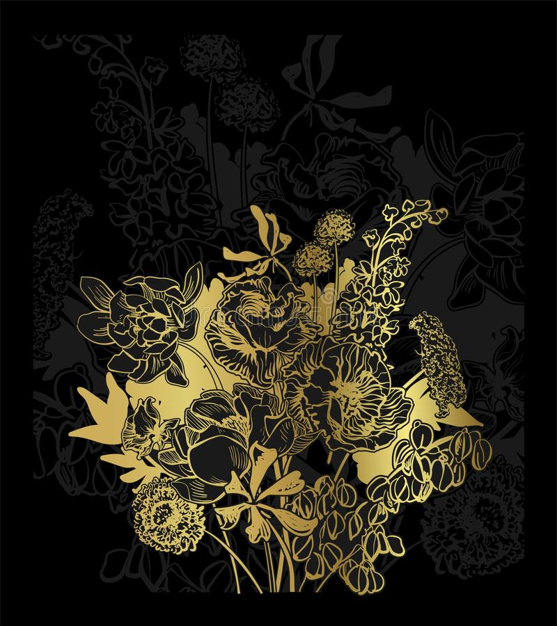 Contexte floral d'or de fond noir de carte élégant illustration de vecteur
