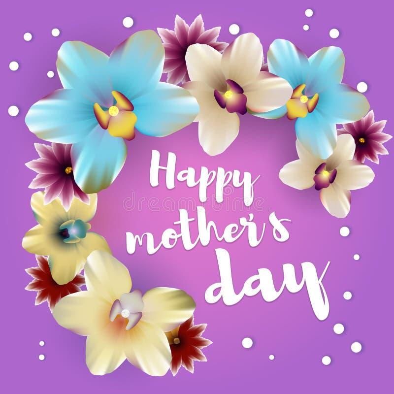 Contexte heureux d'orchidée de lettrage de jour de mères illustration stock