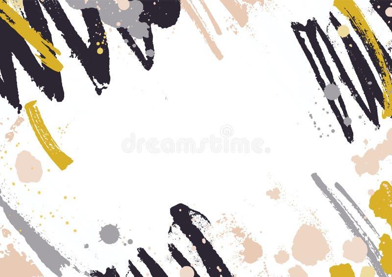 Contexte horizontal avec les taches abstraites de peinture, les taches et les courses jaunes et noires de brosse sur le fond blan illustration de vecteur
