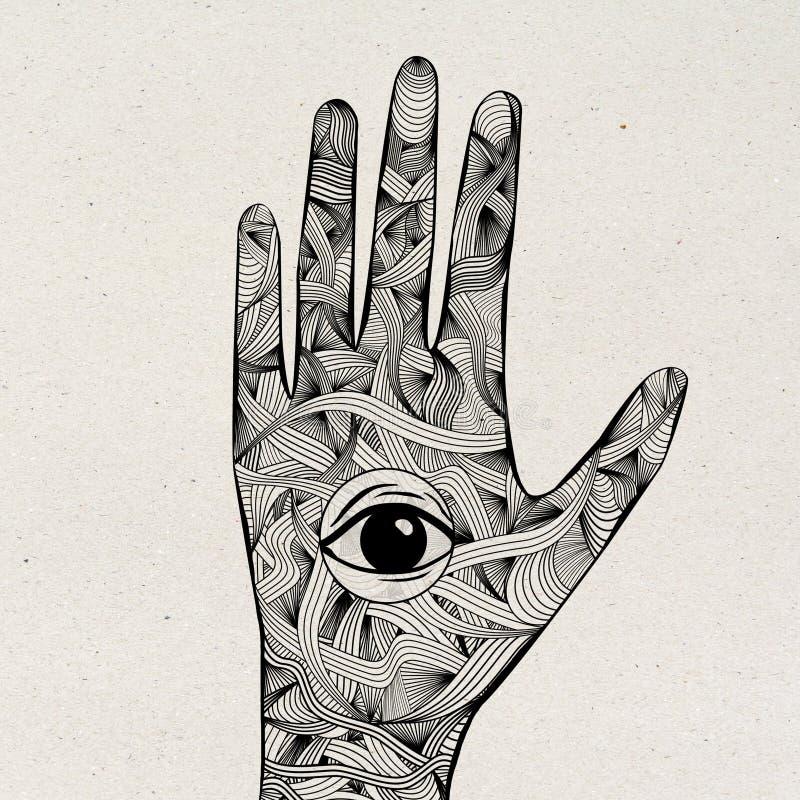 Contexte léger ésotérique de main de mandala illustration libre de droits