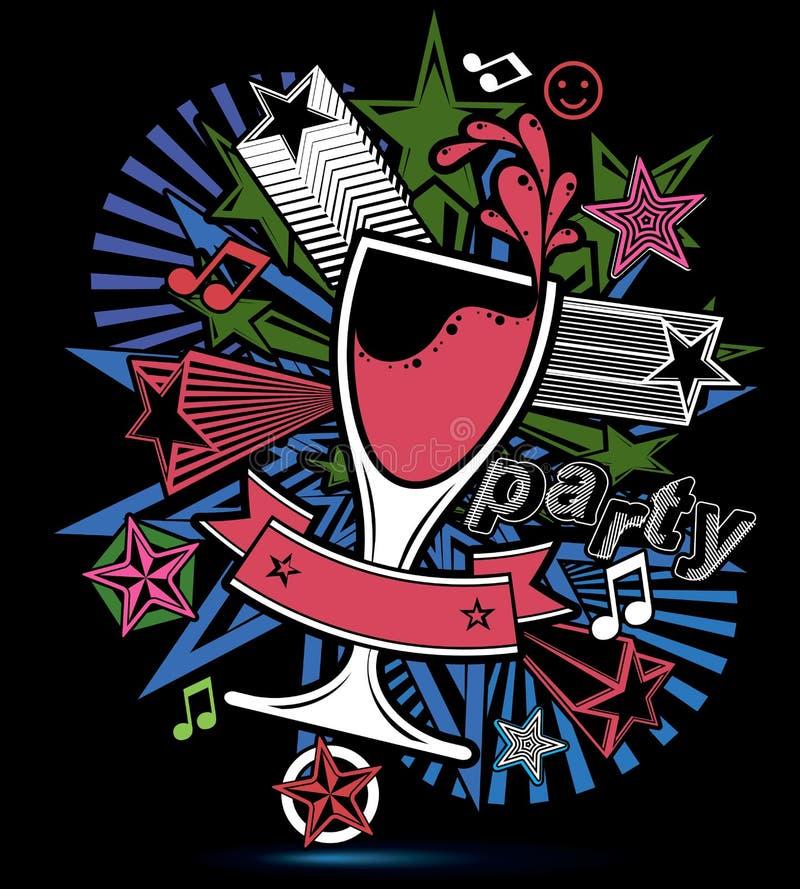 Contexte lumineux stylisé de vacances avec les notes musicales, verre goble illustration libre de droits