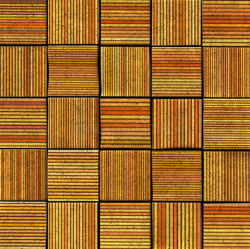 contexte rayé abstrait de la tuile 3d en jaune orange photographie stock