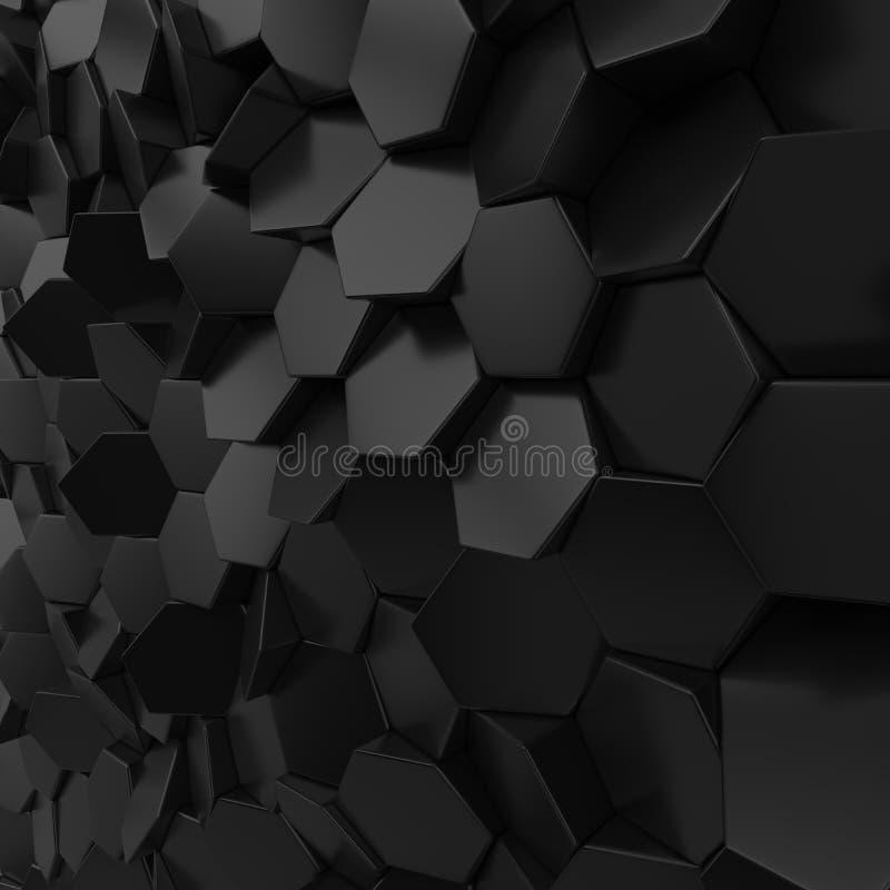 Contexto abstracto metálico negro del hexágono ilustración del vector