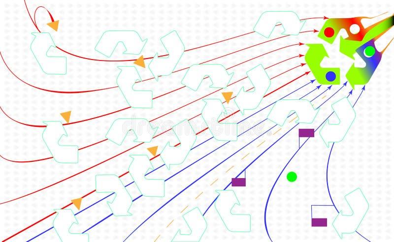Contexto abstrato ambiental Recicle o ícone do eco As setas verdes reciclam Estilo liso para o gráfico e o design web, fundo Veto ilustração do vetor