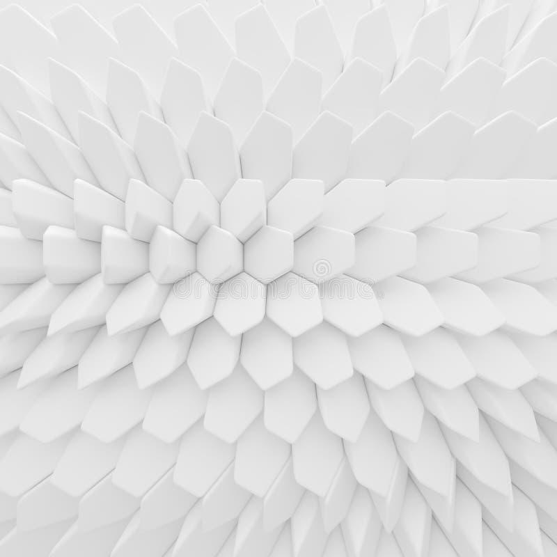 Contexto abstrato branco dos hexágonos 3d que rende polígono geométricos ilustração stock