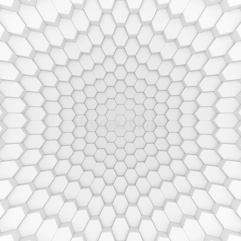 Contexto abstrato branco dos hexágonos 3d que rende polígono geométricos ilustração royalty free
