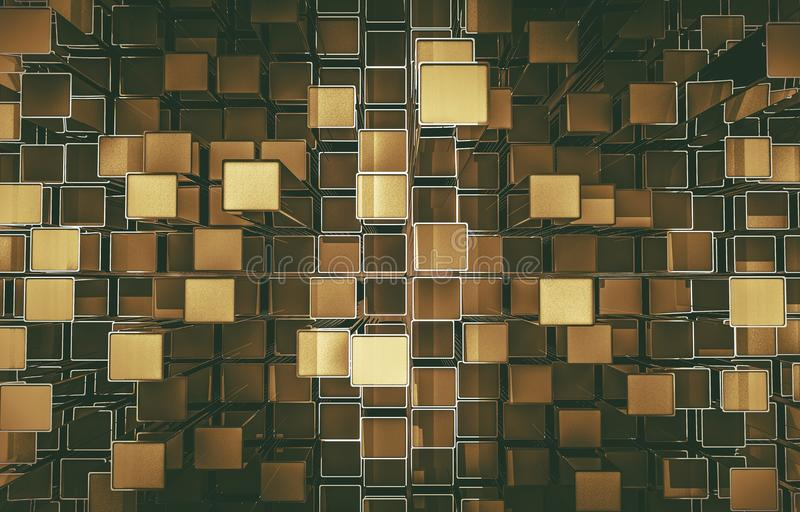 Contexto abstrato dos cubos dourados ilustração do vetor