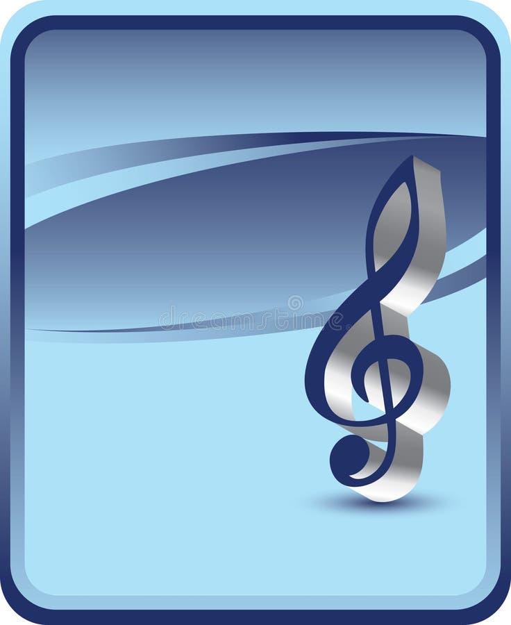 Contexto azul con la nota de la música ilustración del vector