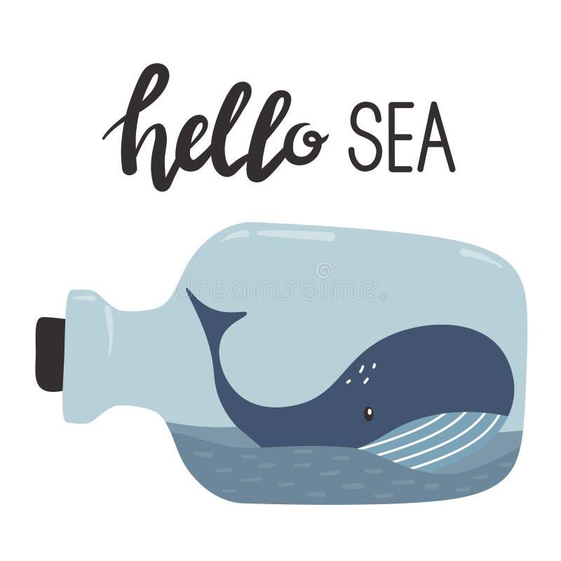 Contexto con la ballena y el texto libre illustration
