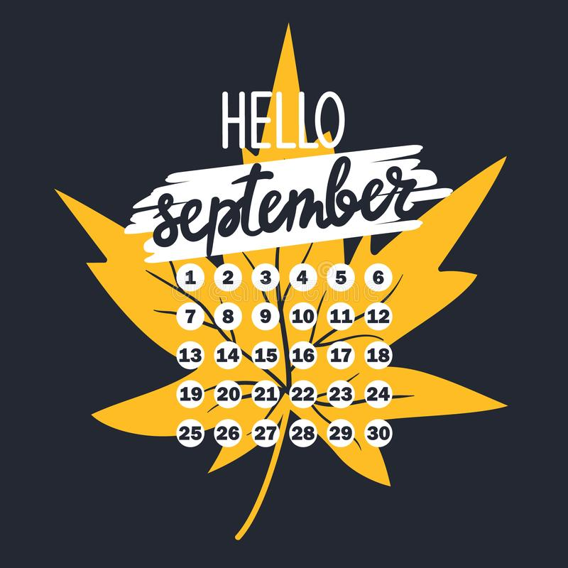 Contexto con la hoja del otoño, texto, calendario libre illustration