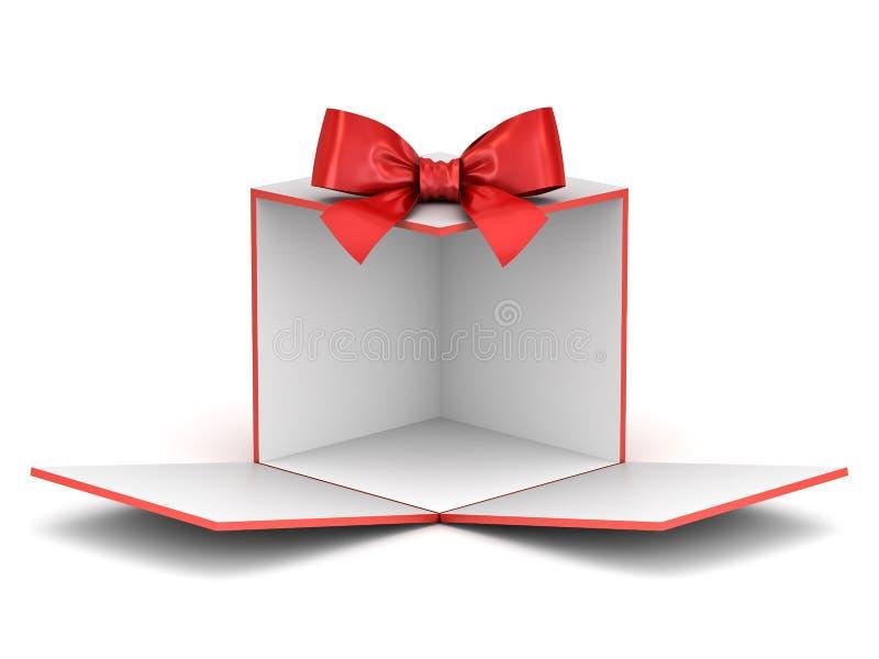Contexto da caixa de presente de exposição vazia para desdobrar-se para sua produto ou mostra atual da caixa com abertura vermelh ilustração royalty free