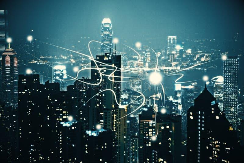 Contexto de la ciudad de la noche foto de archivo libre de regalías