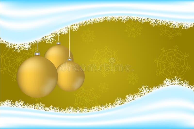 Contexto de la Navidad con los copos de nieve, la onda de la nieve y el oro tres ilustración del vector