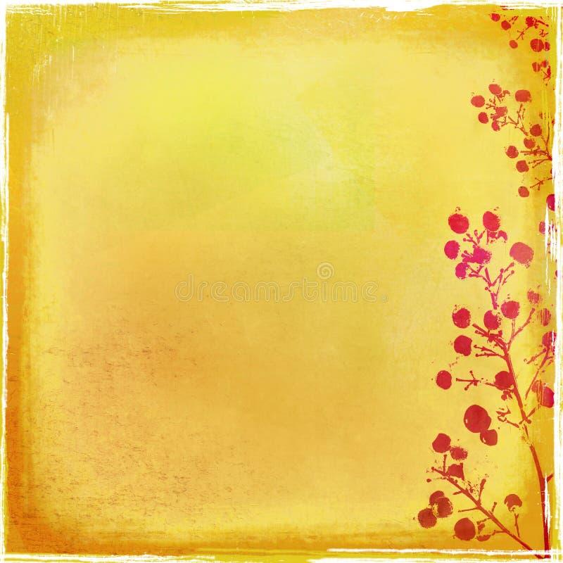 Contexto de oro con el sello del follaje ilustración del vector