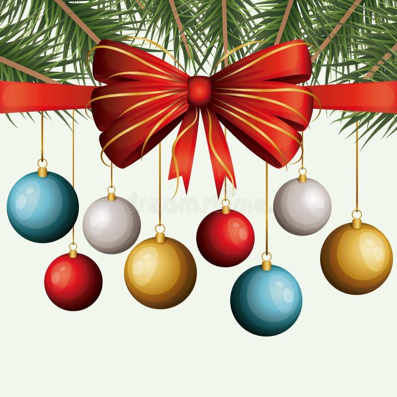 Contexto decorativo de la Navidad del colgante colorido de las guirnaldas de las ramas del pino y de la cinta decorativa en el fo stock de ilustración