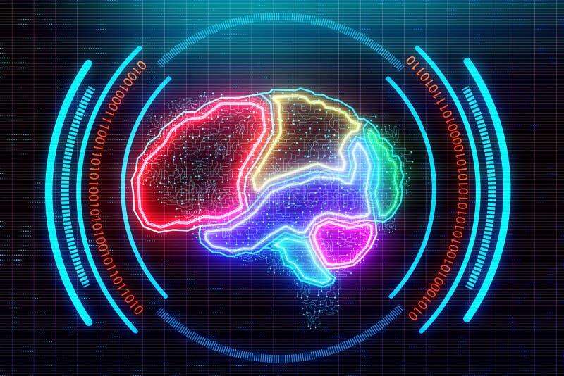 Contexto del cerebro de Digitaces ilustración del vector