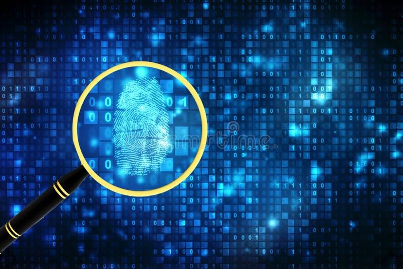 Contexto do código binário com lente de aumento e impressão digital Conceito da biométrica e da computação ilustração royalty free