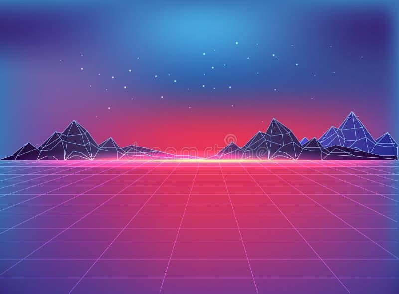 Contexto futurista en el estilo 80s con adorno cósmico libre illustration