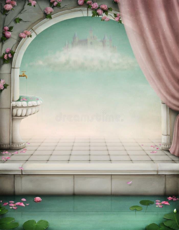 Contexto hermoso del fairy-tale para una ilustración stock de ilustración
