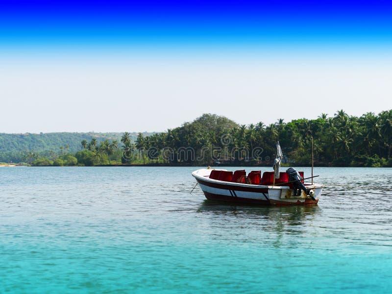 Contexto indiano vívido horizontal do fundo da paisagem do barco foto de stock
