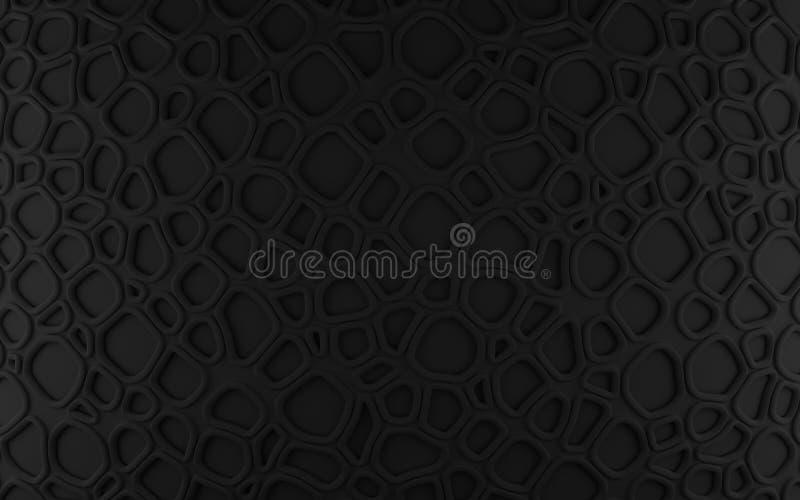 Contexto líquido das pilhas abstratas pretas 3d que rende polígono geométricos ilustração stock
