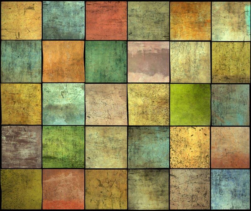 Contexto múltiplo abstrato do teste padrão do grunge da telha do quadrado da cor ilustração stock