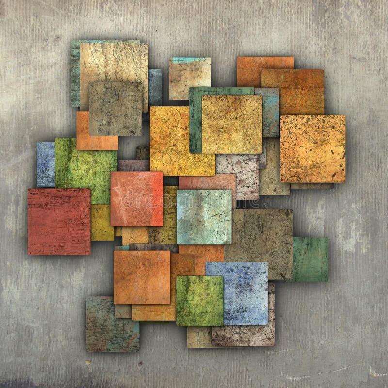 Contexto múltiplo fragmentado do teste padrão do grunge da telha do quadrado da cor ilustração do vetor
