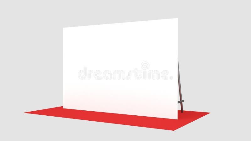 Contexto, medidores da bandeira 2x3 da imprensa com carpit vermelho 3d rendem o molde Modelo ilustração royalty free