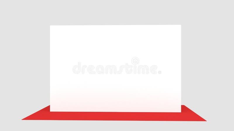 Contexto, medidores da bandeira 2x3 da imprensa com carpit vermelho 3d rendem o molde Modelo ilustração do vetor