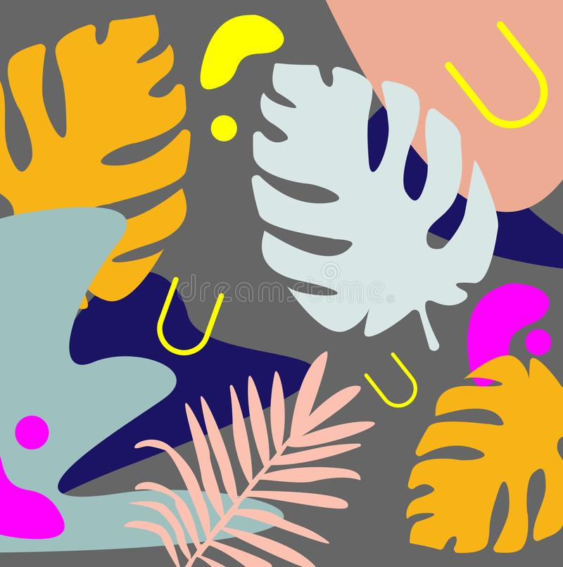 Contexto natural creativo con follaje exótico de la planta del monstera y manchas abstractas coloridas y remiendos en fondo gris libre illustration