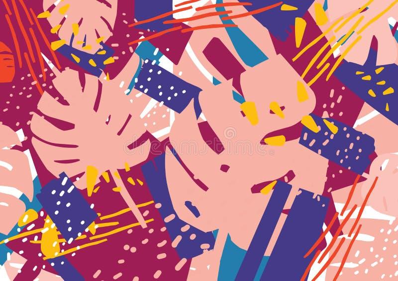 Contexto natural horizontal con follaje exótico de la planta del monstera y manchas y remiendos abstractos coloridos en rosa stock de ilustración