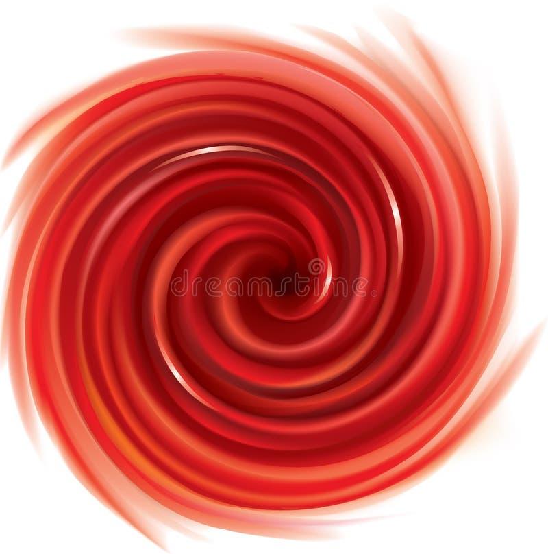 Contexto rojo que remolina del vector Jugo de frutas rojas stock de ilustración
