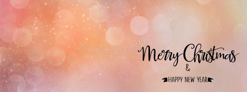 Contexto rosado/coralino del extracto de la Navidad con la cita, estilo panorámico foto de archivo