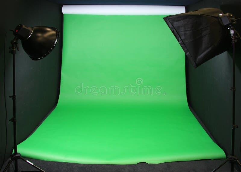 Contexto verde del estudio de la pantalla imagen de archivo
