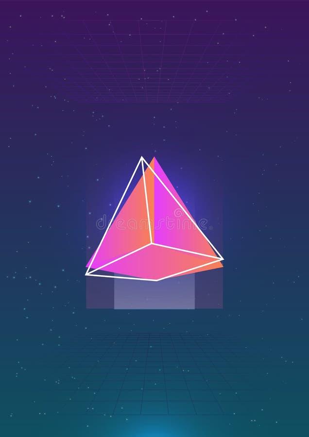 Contexto vertical abstracto con la pirámide cósmica coloreada brillante que brilla intensamente y su esquema contra espacio exter libre illustration