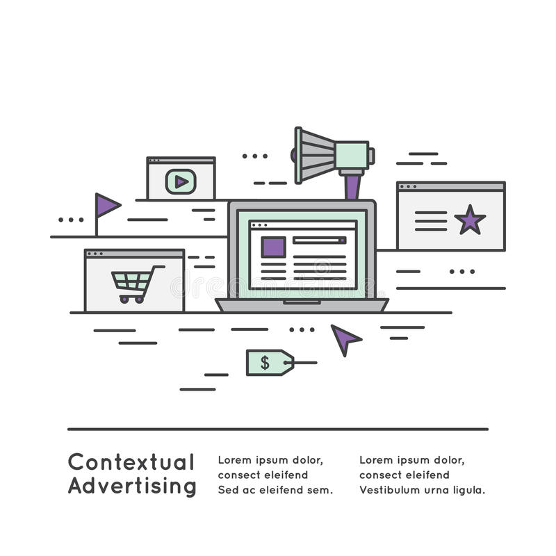 Contextual advertising as a form of targeted advertising. Vector Icon Style Illustration Contextual advertising as a form of targeted advertising for royalty free illustration