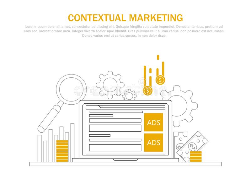 Contextual marketing banner. Computer with ads on display and money for click. Vector flat line illustration royalty free illustration